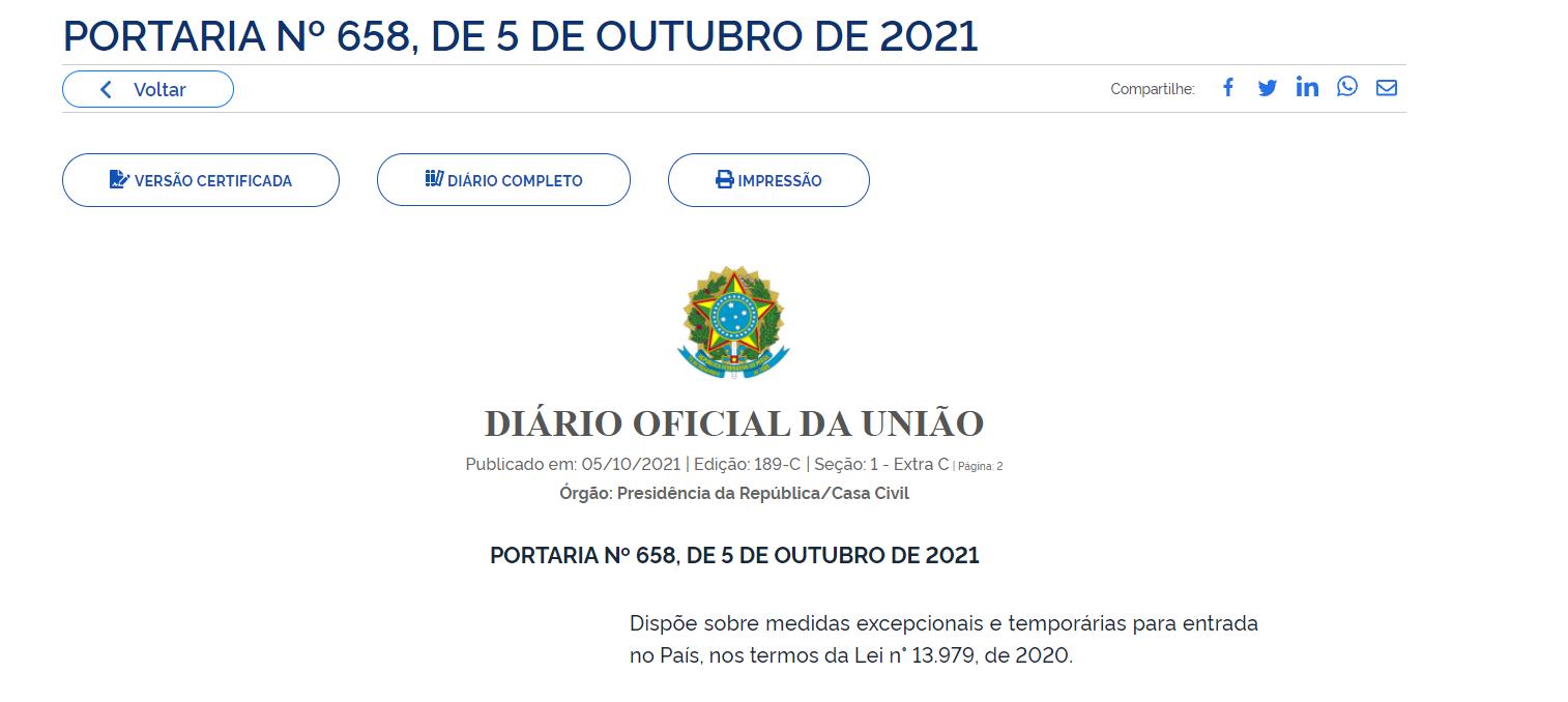 PORTARIA Nº 658, DE 5 DE OUTUBRO DE 2021